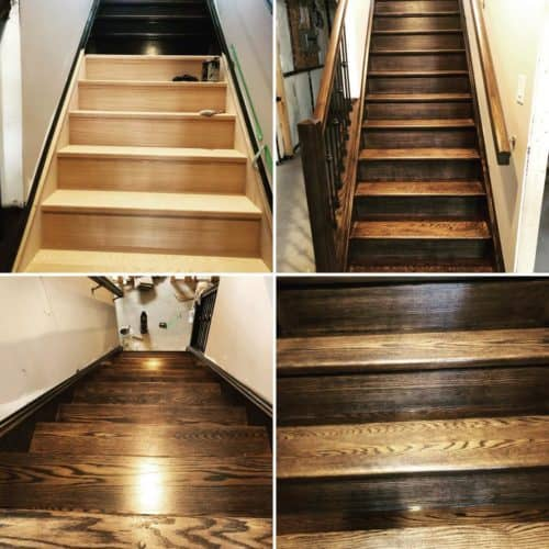Our painting services provided this house with a newly stained stairwell.